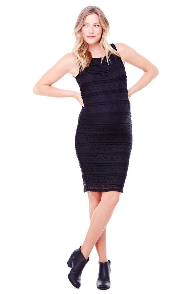 a142f4de22492 Ingrid & Isabel Sleeveless Lace Maternity Dress in Jet Black