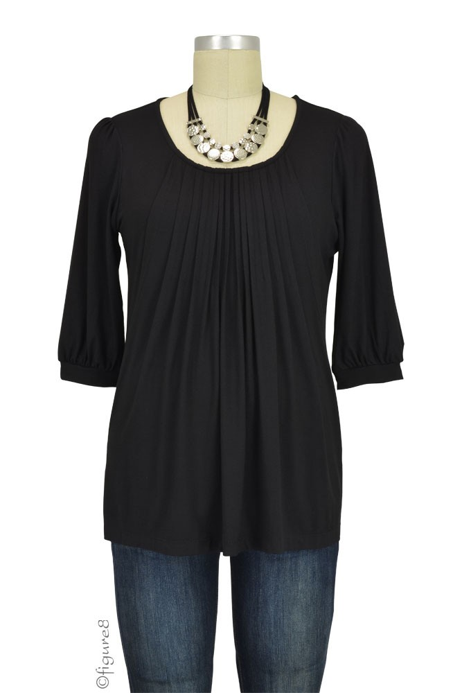 Sophie & Eve Safia 3/4 Sleeve Bamboo Pleated Nursing Top (Black)
