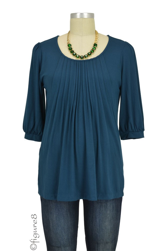 Sophie & Eve Safia 3/4 Sleeve Bamboo Pleated Nursing Top (Midnight Forest)