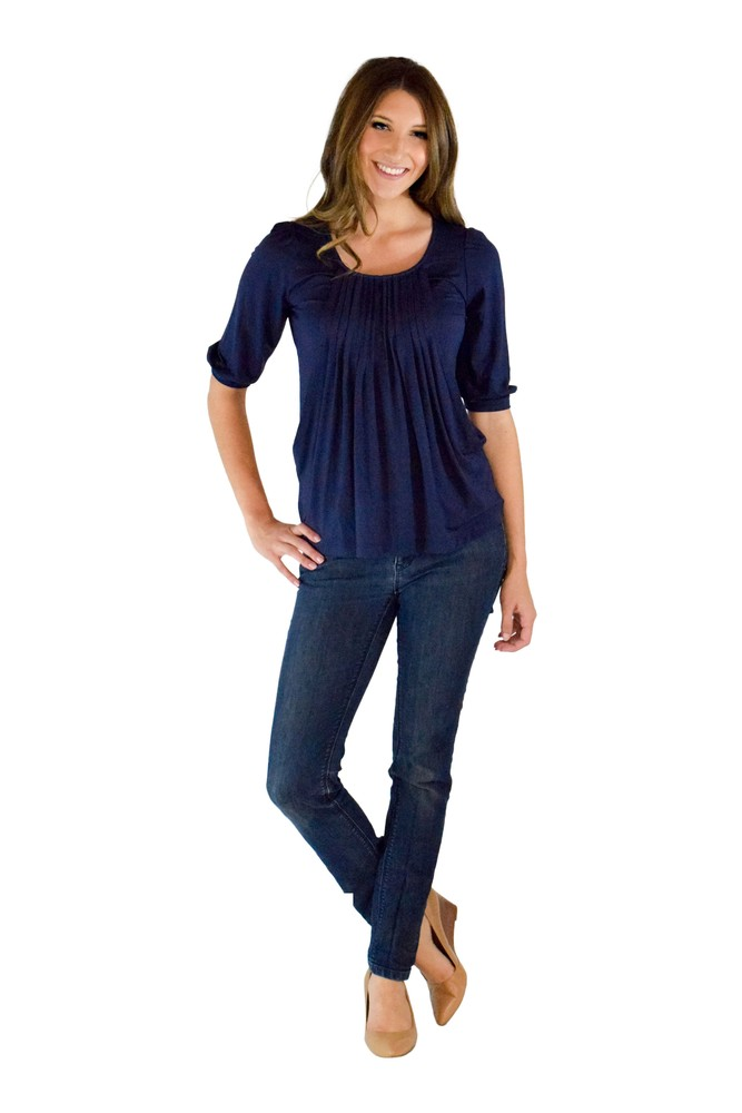 48f2a1fbf1c378 Sophie & Eve Safia 3/4 Sleeve Bamboo Pleated Nursing Top in Washed Navy