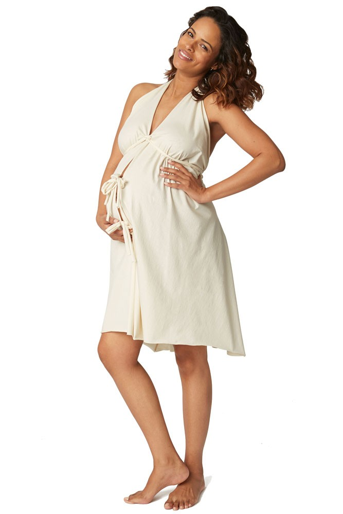 Pretty Pushers Unbleached Cotton Jersey Labor Gown in Cream