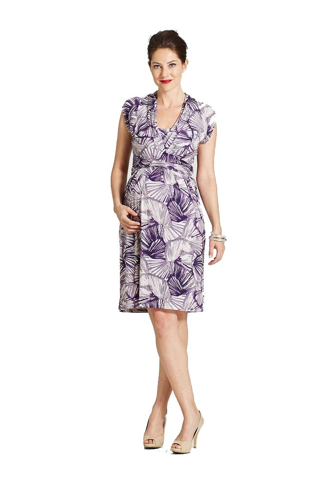 The Evita Wrap Front Nursing Dress by Milky Way (Purple Print)