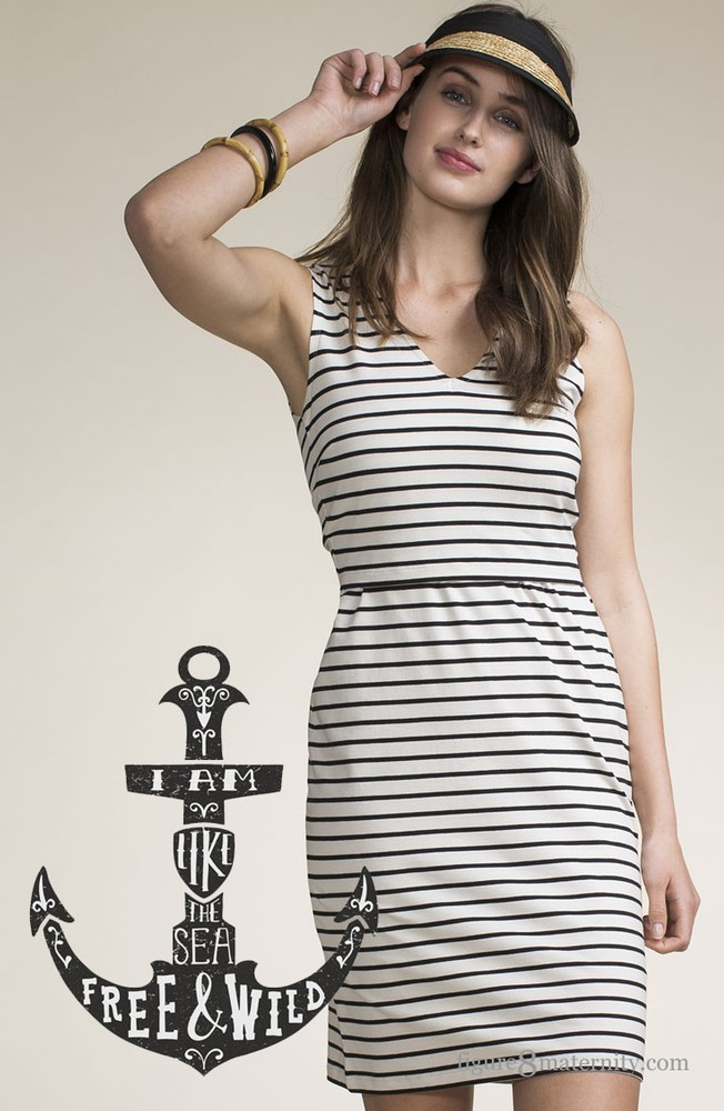 33afe66df37 Boob Design Simone Organic Sleeveless Maternity   Nursing Dress (Black  Sailor Stripe)
