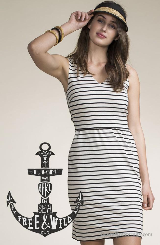 ed9b913e06 Boob Design Simone Organic Sleeveless Maternity   Nursing Dress (Black  Sailor Stripe)