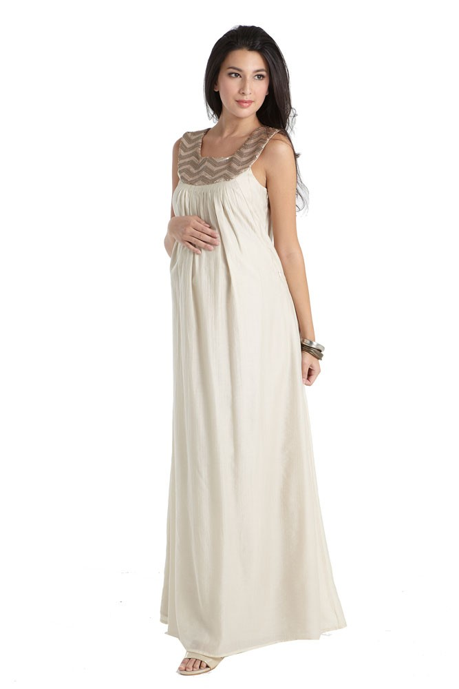 66d35c8a9cc54 Cleopatra Embellished Maxi Maternity & Nursing Dress in Champagne by Mothers  en Vogue