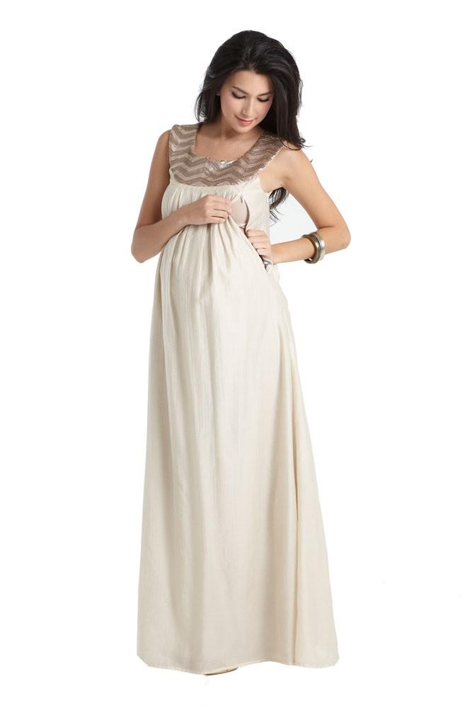 5ed3b55233fe3 Cleopatra Embellished Maxi Maternity & Nursing Dress. by Mothers en Vogue