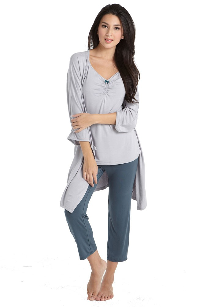 Bamboo Caminurse PJ & Robe Set (3 pc.) (Dove-Spruce)
