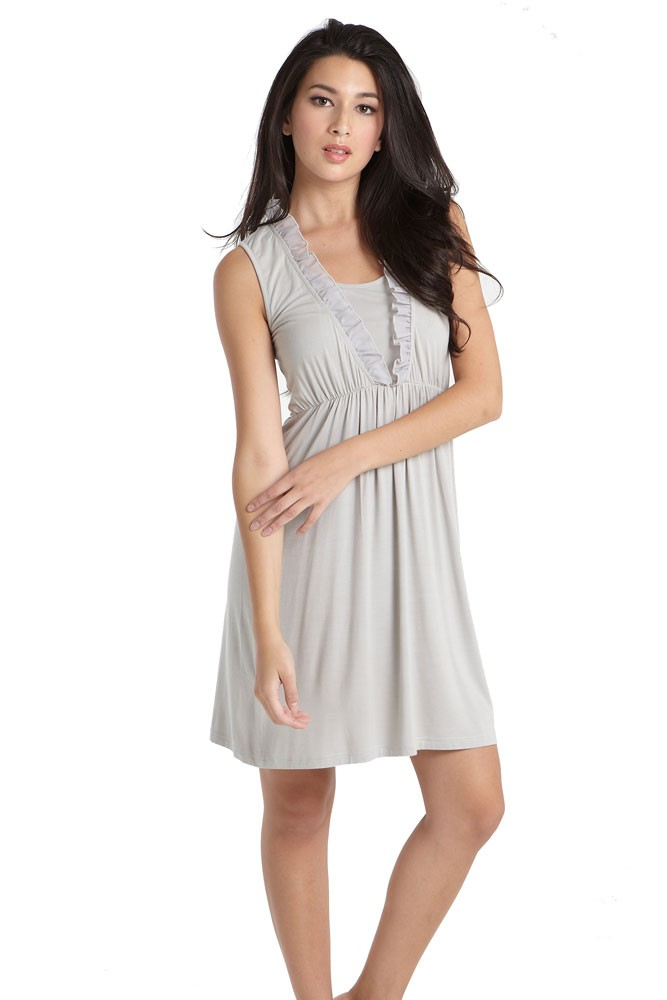 Chiffon Trim Bamboo Night Maternity & Nursing Dress (Taupe Grey)