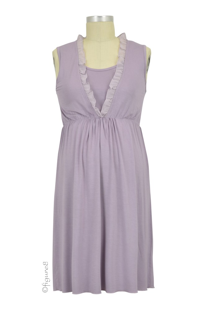 Chiffon Trim Bamboo Night Maternity & Nursing Dress (Dusky Grape)