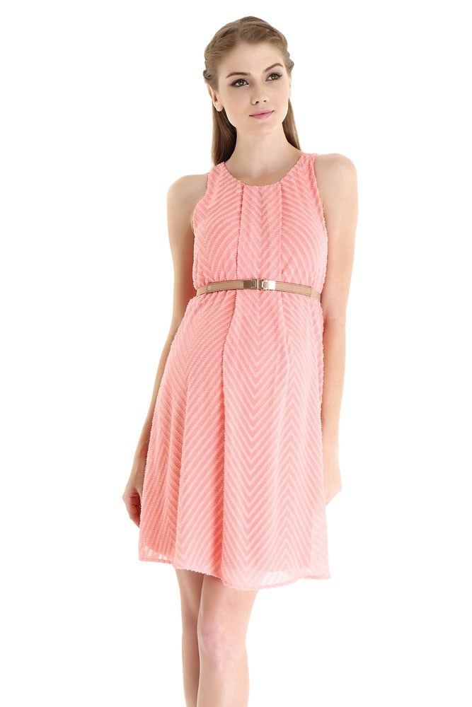 stella woven nursing dress with belt in coral pink chevron