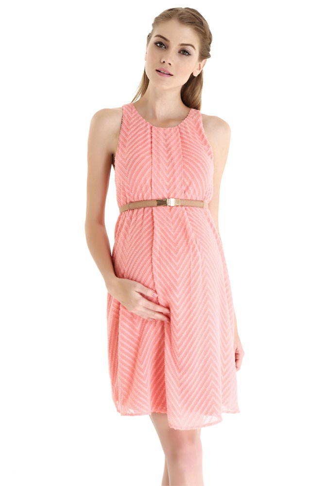 Stella Woven Maternity Nursing Dress With Belt In Coral Pink Chevron By Spring Maternity