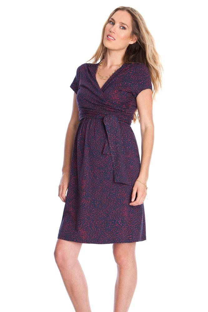 Seraphine Abba SS Maternity & Nursing Dress in Navy & Red Print