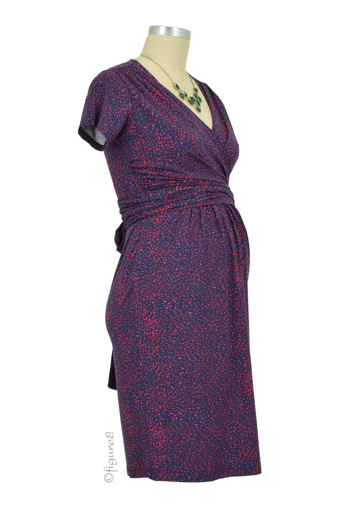 Seraphine Abba Ss Nursing Dress In Navy Amp Red Print By