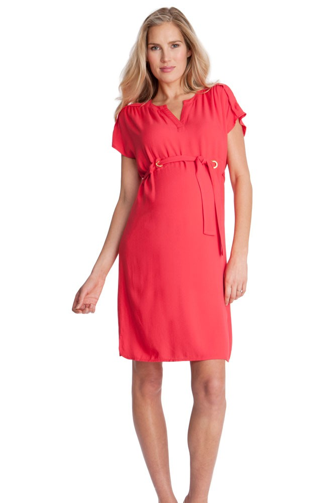 Seraphine Camden Maternity Dress (Coral Red)