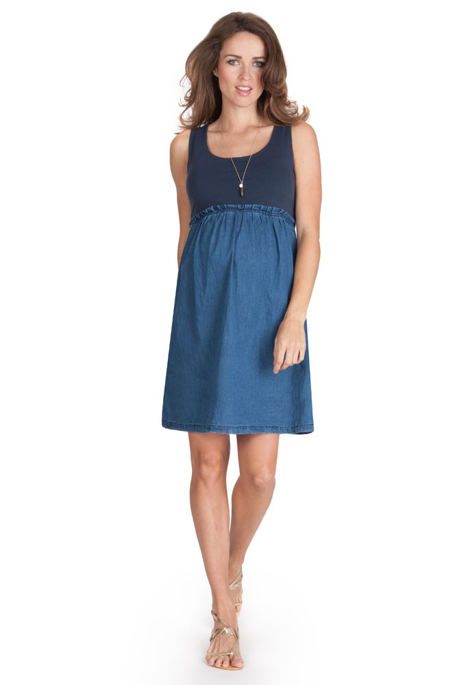 Seraphine Meryl Maternity Dress (Light Denim)