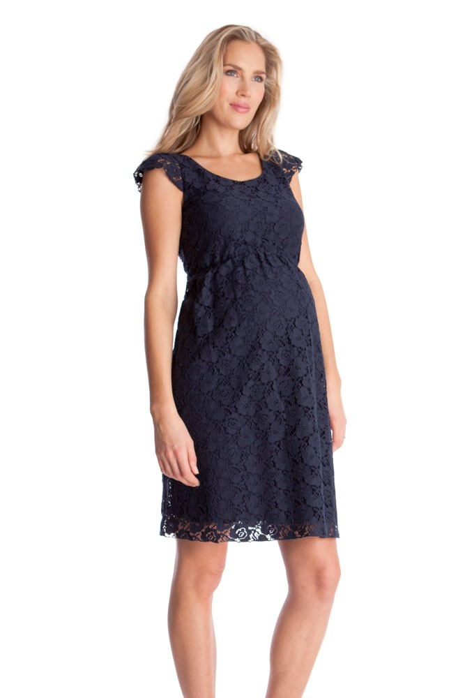 18c5b99e15327 Seraphine Sloane Lace Maternity Dress in Navy