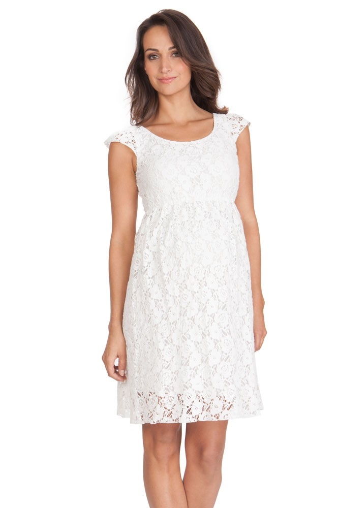 Seraphine Sloane Lace Maternity Dress (Off-White)