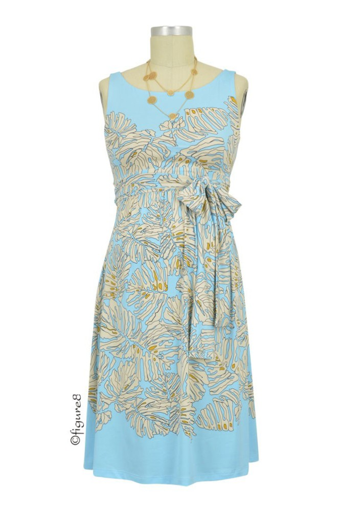 Sasha Maternity Dress (Blue & Ivory Leaf Print)