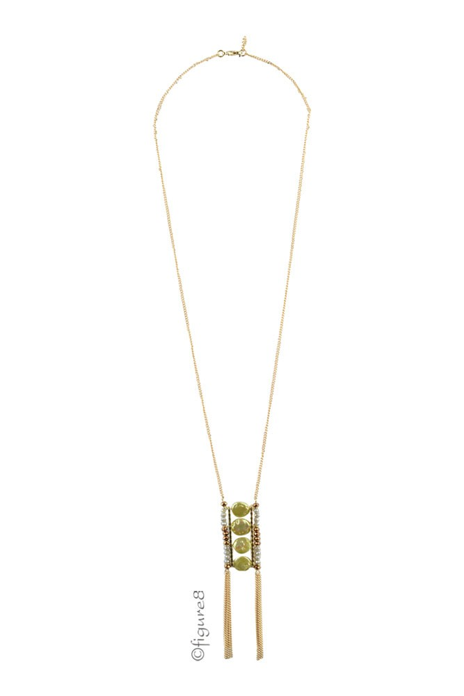 Green Ladder Chain Necklace w/ Bronze Detail (Green & Bronze)