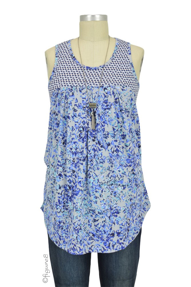 Milky Way Mixed Print Nursing Tank (Blue and White Mix Print)