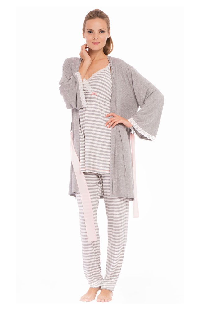 f8126210e301 Olian Sally Stripes 4-Piece Nursing PJ Set with Baby Outfit in Grey ...