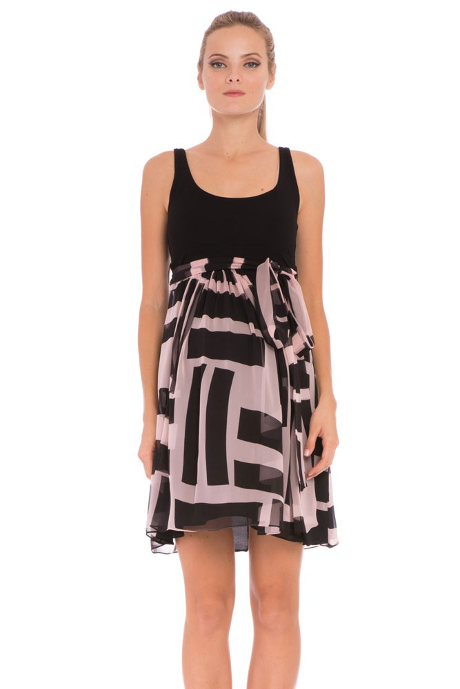 Zoe Maternity Dress (Rose & Black Geometric Print)