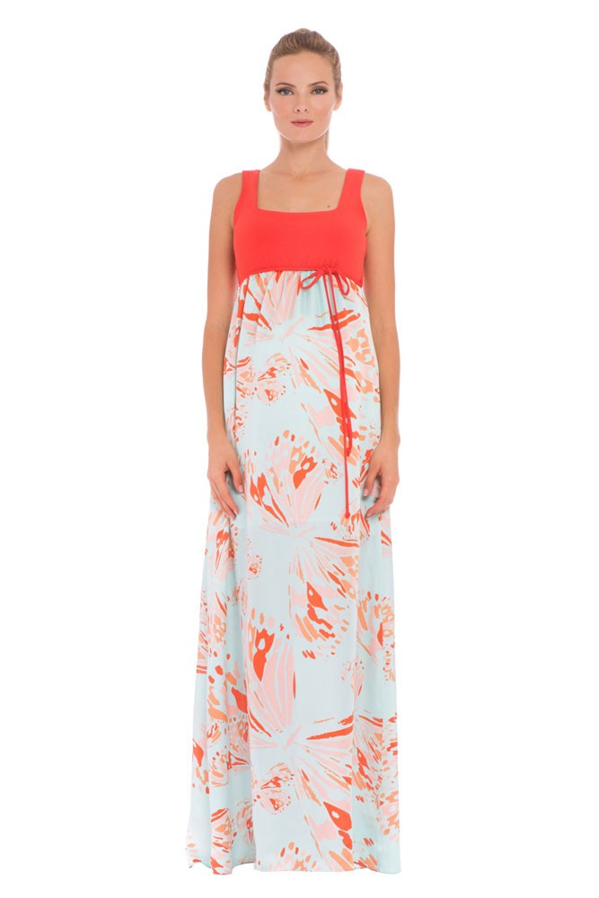 Olian Savannah Maxi Maternity Dress (Aqua & Orange Butterfly Print)