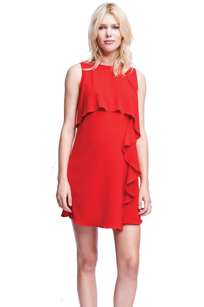 Francesa Cascade Ruffle Nursing Dress (Red)