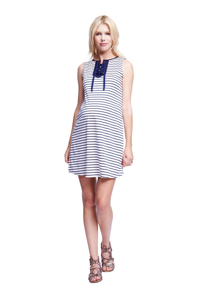 Briana Lace Up Placket Maternity Dress (White/Navy Stripe)