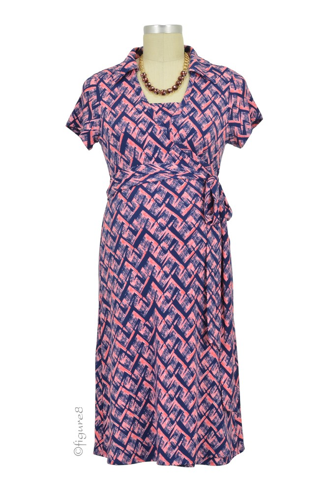 Clara Collared Wrap Maternity & Nursing Dress (Mosaics)