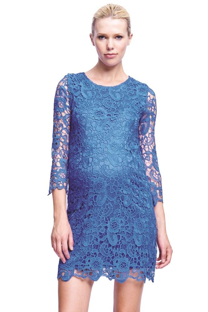 Diana Crochet Maternity Dress In Royal Blue By Urbanma