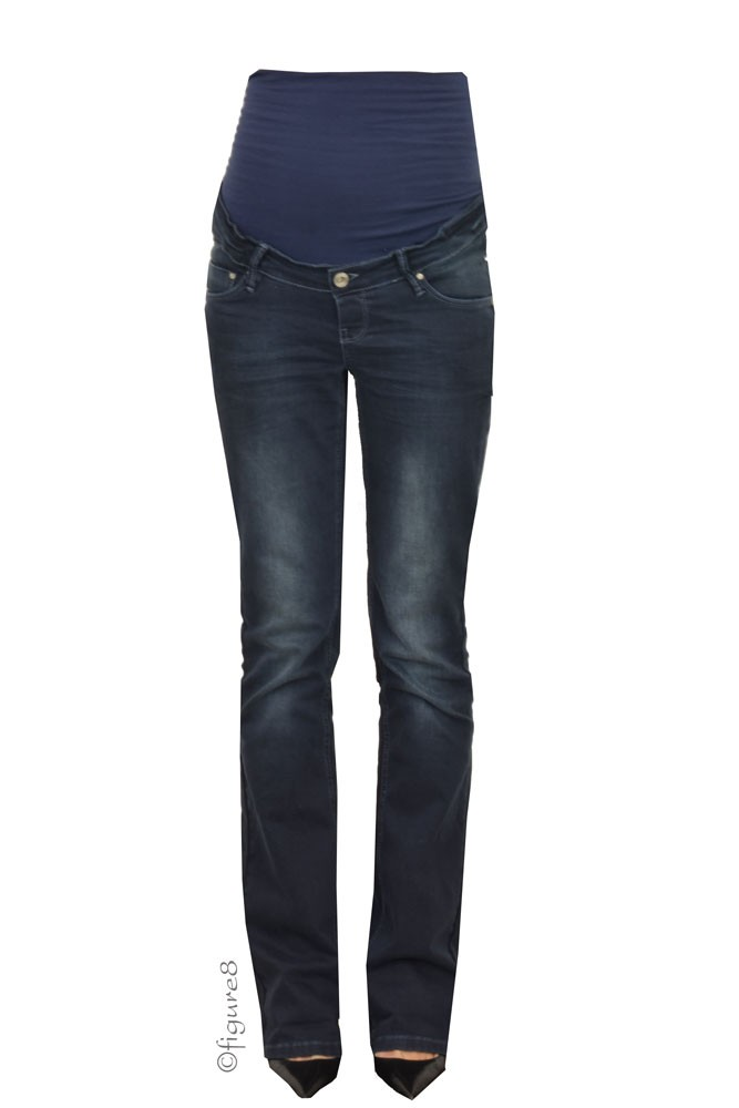 Jenny Over/Under the Belly Bootcut Maternity Jeans (Dark Stone Wash)