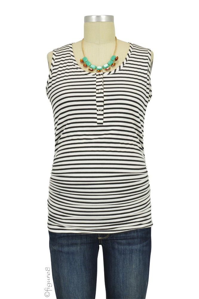 Mimi Ruched Snap Maternity & Nursing Tank (Black & White Stripes)