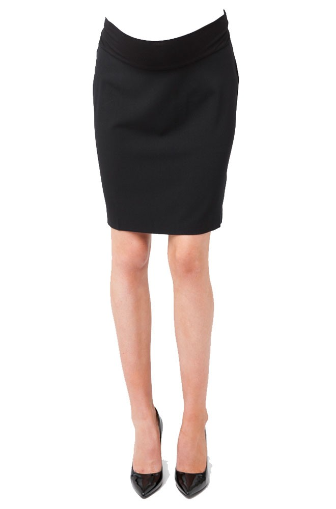 Evelyn Professional Maternity Skirt with Tummy Band (Black)