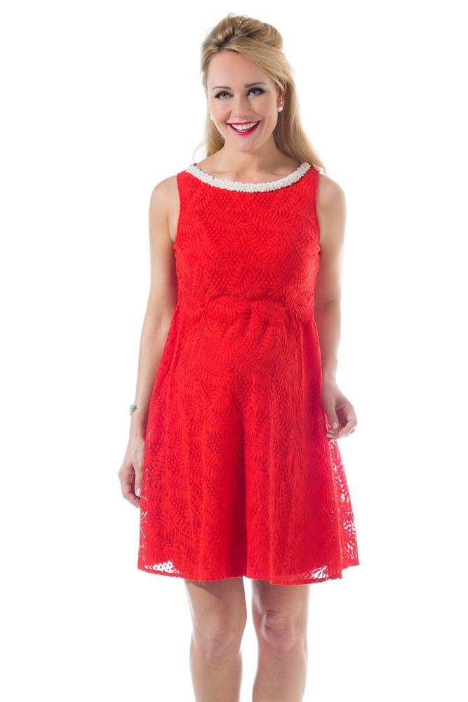 Cara Embellished Bateau Neckline Maternity & Nursing Dress (Aurora Red)