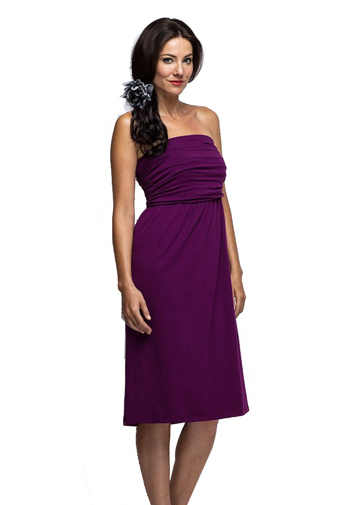 The MW Ruched Maternity & Nursing Tube Dress (Burgundy)