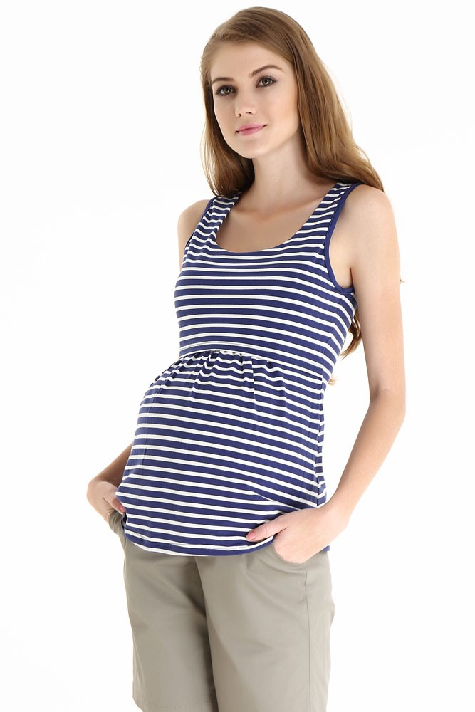 Spring Maternity Alicia Empire Maternity & Nursing Tank (Navy Stripes)