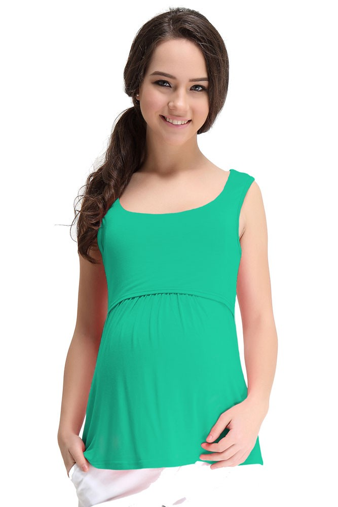 Spring Maternity Abbey Bamboo Empire Maternity & Nursing Tank (Green)
