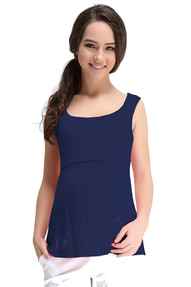 Spring Maternity Abbey Bamboo Empire Maternity & Nursing Tank (Navy)