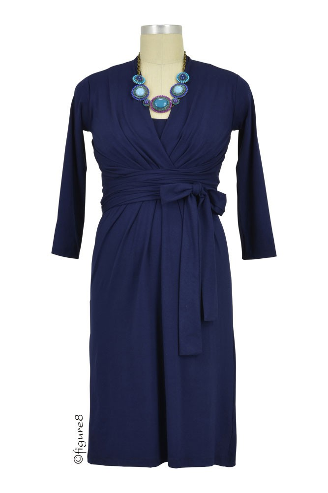 Theory Twist-Front Nursing Dress (Navy)