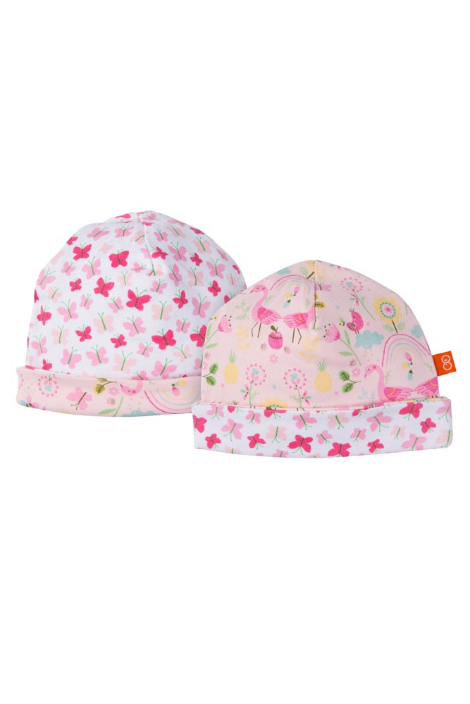Magnificent Baby Magnetic Me™ Reversible Baby Girl Cap (Flamingo Print)