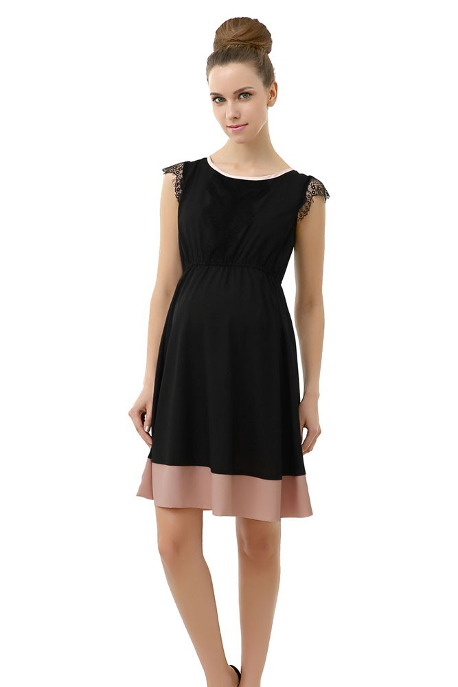 Zoey Lace Trimmed Colorblock Maternity Dress (Black with Blush Accent)