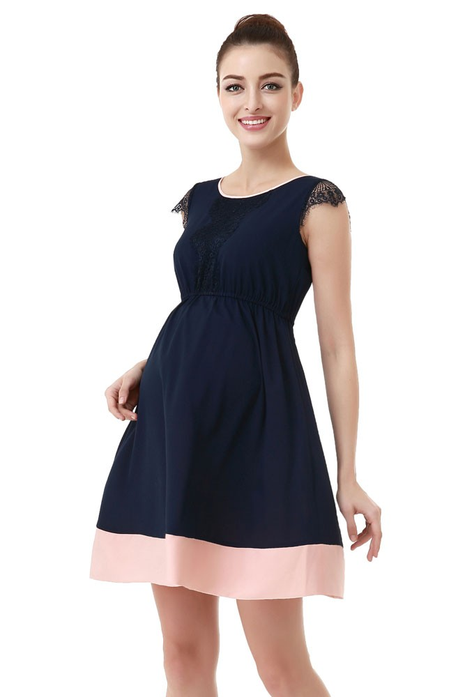 Zoey Lace Trimmed Colorblock Maternity Dress (Navy with Blush Accent)