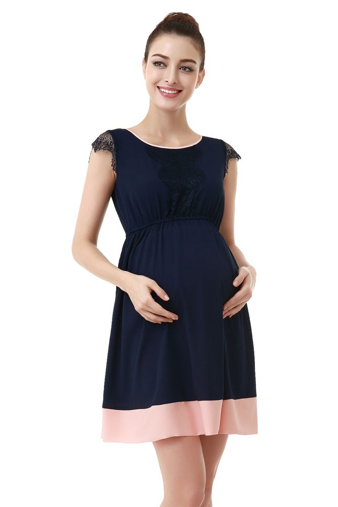 4263535a94c Zoey Lace Trimmed Colorblock Maternity Dress in Navy with Blush ...