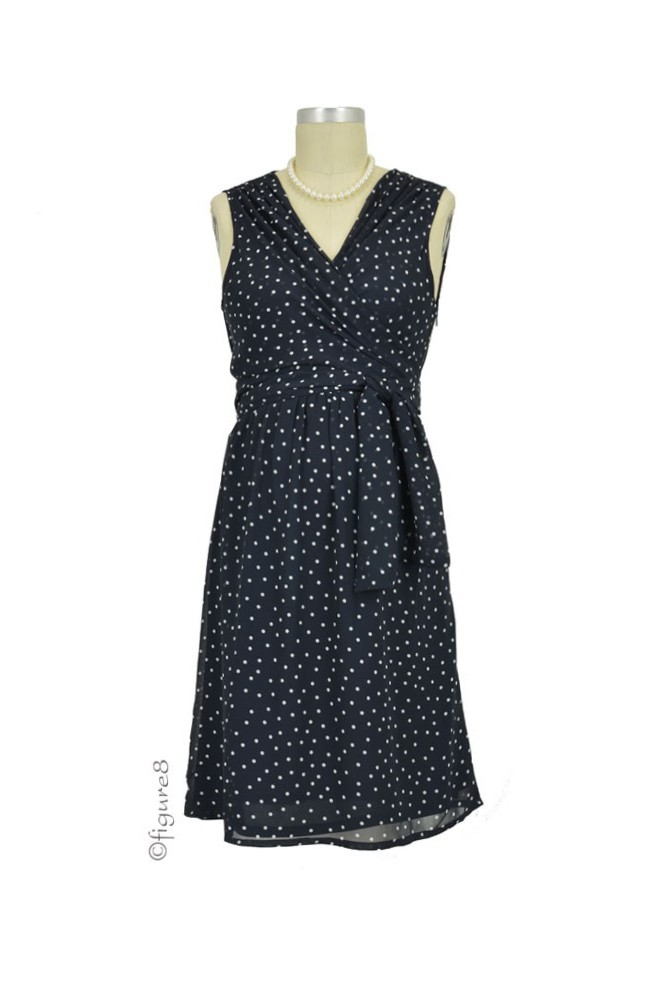 82238f6a03540 Sasha Chiffon Dotted Nursing Dress in Navy Dot by Sophie & Eve