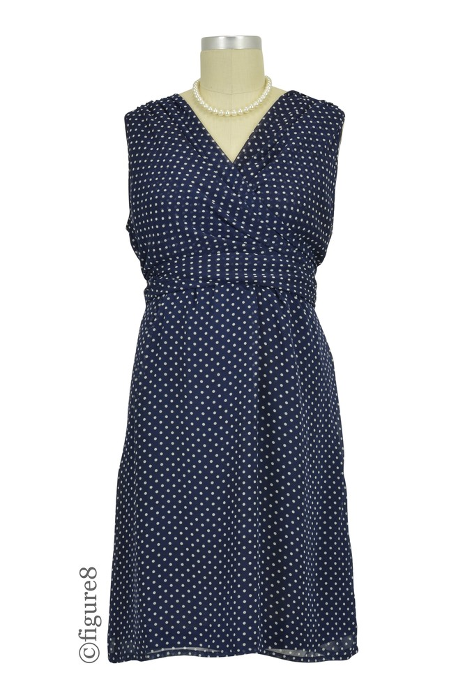Sasha Chiffon Dotted Nursing Dress (Navy and Cream Dot)