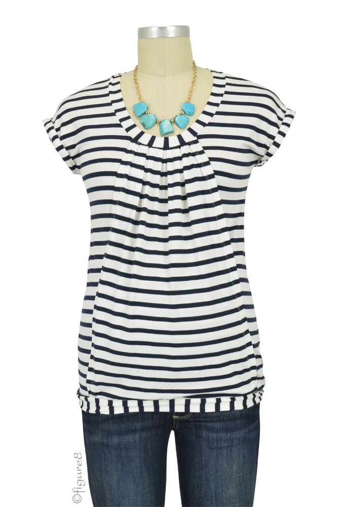 Manon Nursing Top (Blue & White Stripes)