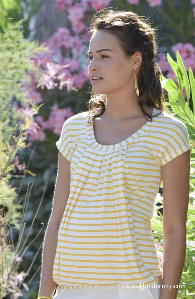 Manon Nursing Top (Yellow & White Stripes)