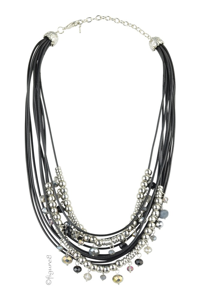 Silver Bead & Black Rope Necklace (Silver & Black)