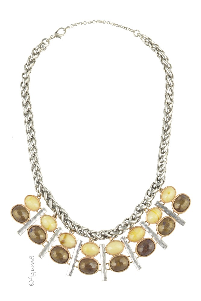 Brown Cream & Silver Bib Necklace (Brown, Cream, & Silver)